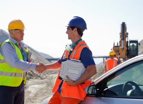 Begrüßung auf der Baustelle
