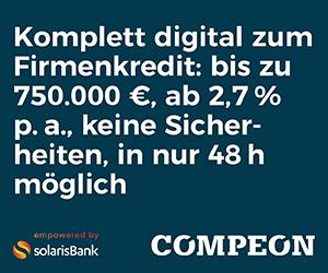 Kurzzeitkredit für Unternehmen - TESTSIEGER des Monats: Jetzt kostenloses compeon Angebot einholen (hier klicken)!