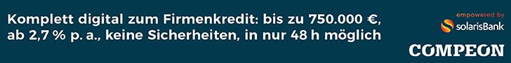 Digitaler Firmenkredit online bestellen und vergleichen: Jetzt kostenloses compeon Angebot einholen (hier klicken)!