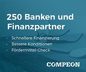 COMPEON Vorteil für Selbständige: 250 Finanzierer und 1.700 Förderprogramme! Jetzt kostenloses Angebot einholen (hier klicken)!